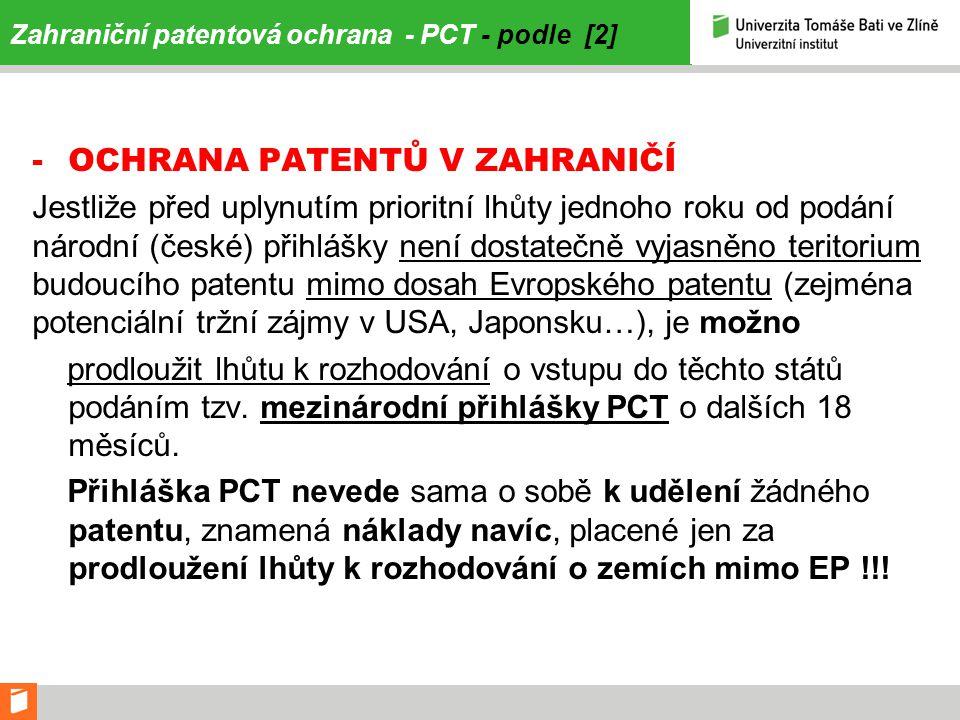 Zahraniční patentová ochrana - PCT - podle [2]